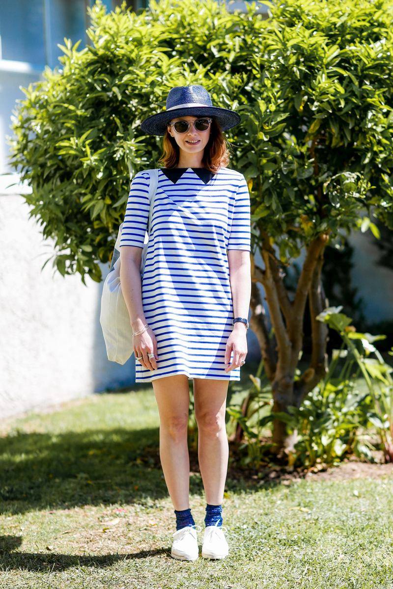 Street style, Delphine Desneiges ( Deedee, blogger) at 31st International festival of Fashion and Photography (31e Festival International de Mode et de Photographie de Hyeres) held at Villa Noailles, in Hyeres, France, on April 22nd, 2016. She is wearing Petit Bateau. Photo by Marie-Paola Bertrand-Hillion/ABACAPRESS.COM