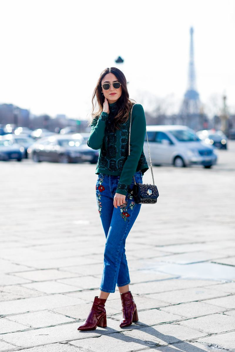 Street style, Soraya Bakhtiar arriving at Elie Saab Fall-Winter 2016-2017 show held at Tuileries Garden, in Paris, France, on March 5, 2016. Photo by Marie-Paola Bertrand-Hillion/ABACAPRESS.COM