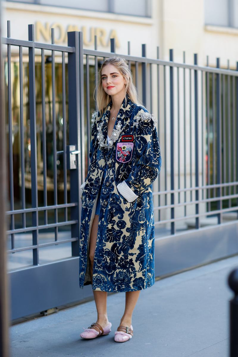 Street style, blogger Chiara Ferragni (The Blonde Salad) arriving at Miu Miu Spring Summer 2017 show held at Palais d Iena, in Paris, France, on October 5, 2016. Photo by Marie-Paola Bertrand-Hillion/ABACAPRESS.COM