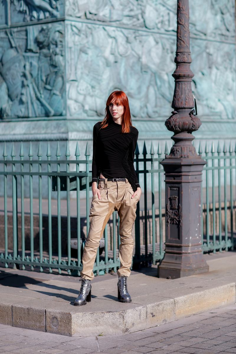 Street style, model Teddy Quinlivan after Louis Vuitton Spring Summer 2017 show held at Place Vendome, in Paris, France, on October 5, 2016. Photo by Marie-Paola Bertrand-Hillion/ABACAPRESS.COM