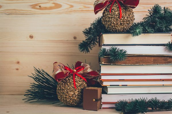 Books-gifts for Christmas with decoration