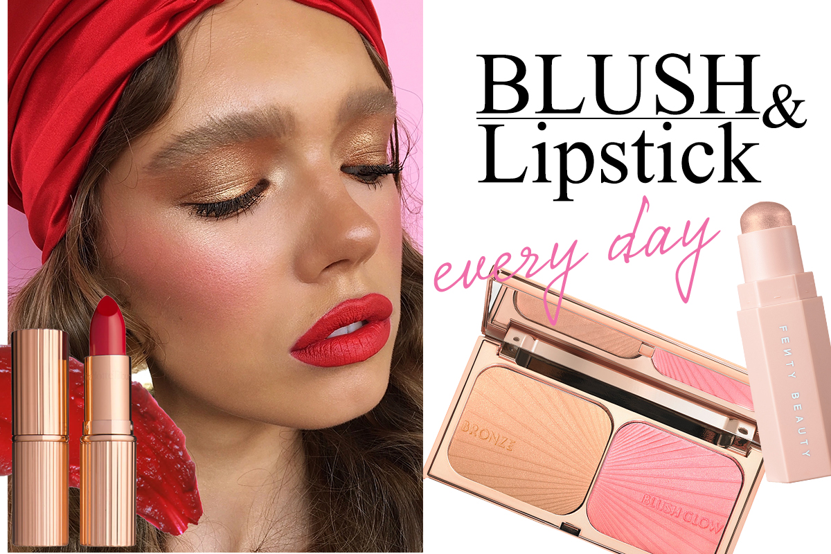 blush and lipstick