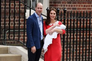 Kate Middleton, Duchess of Cambridge and Prince William pictured with their 3rd Child leaving the St. Marys Hospital
