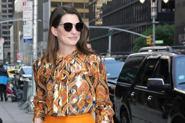 Anne Hathaway at The Late Show with Stephen Colbert