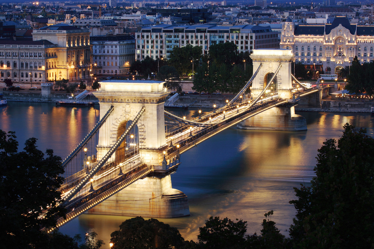 Hungary, Budapest, Chain Bridge at night