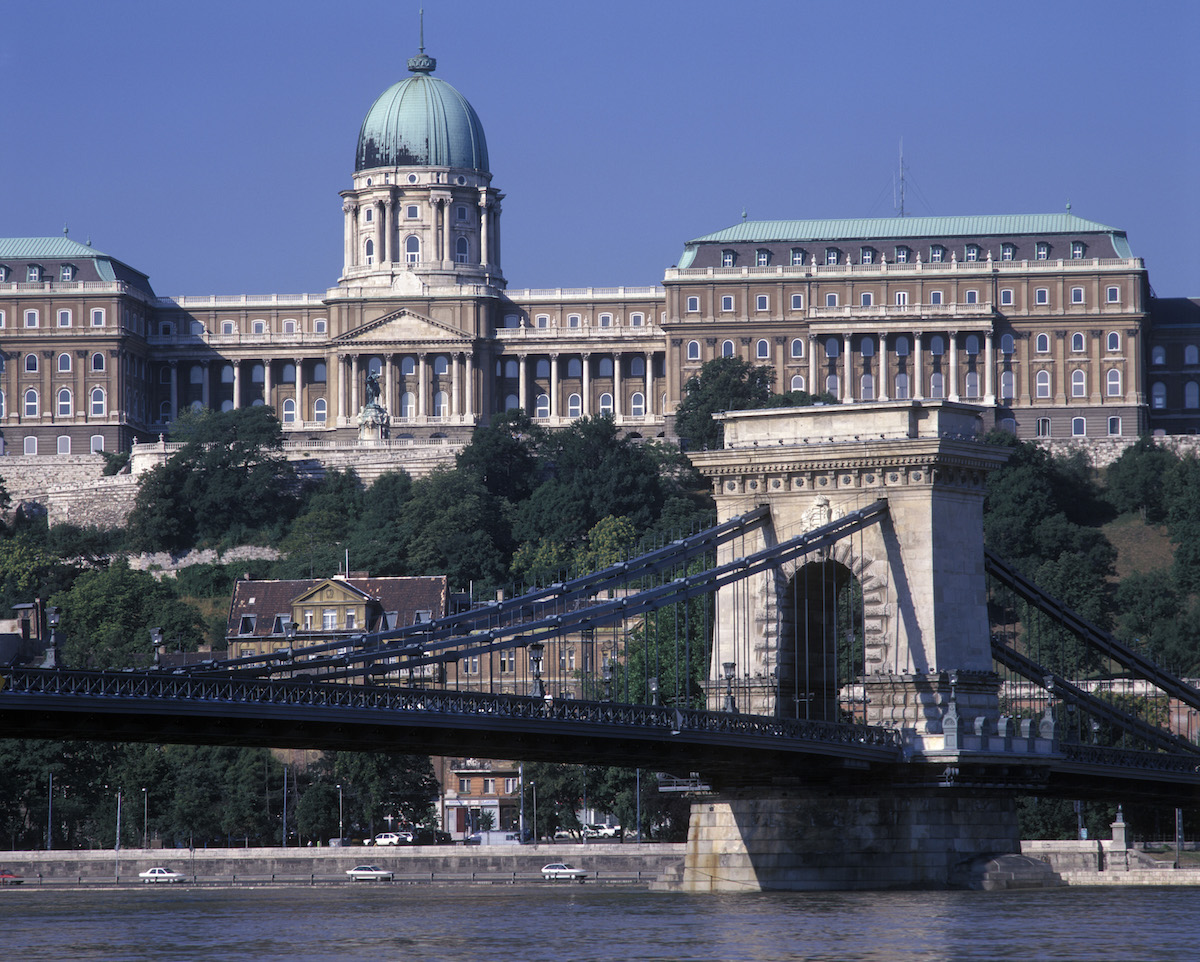europe, hungary, budapest, chain bridge and the royal palace