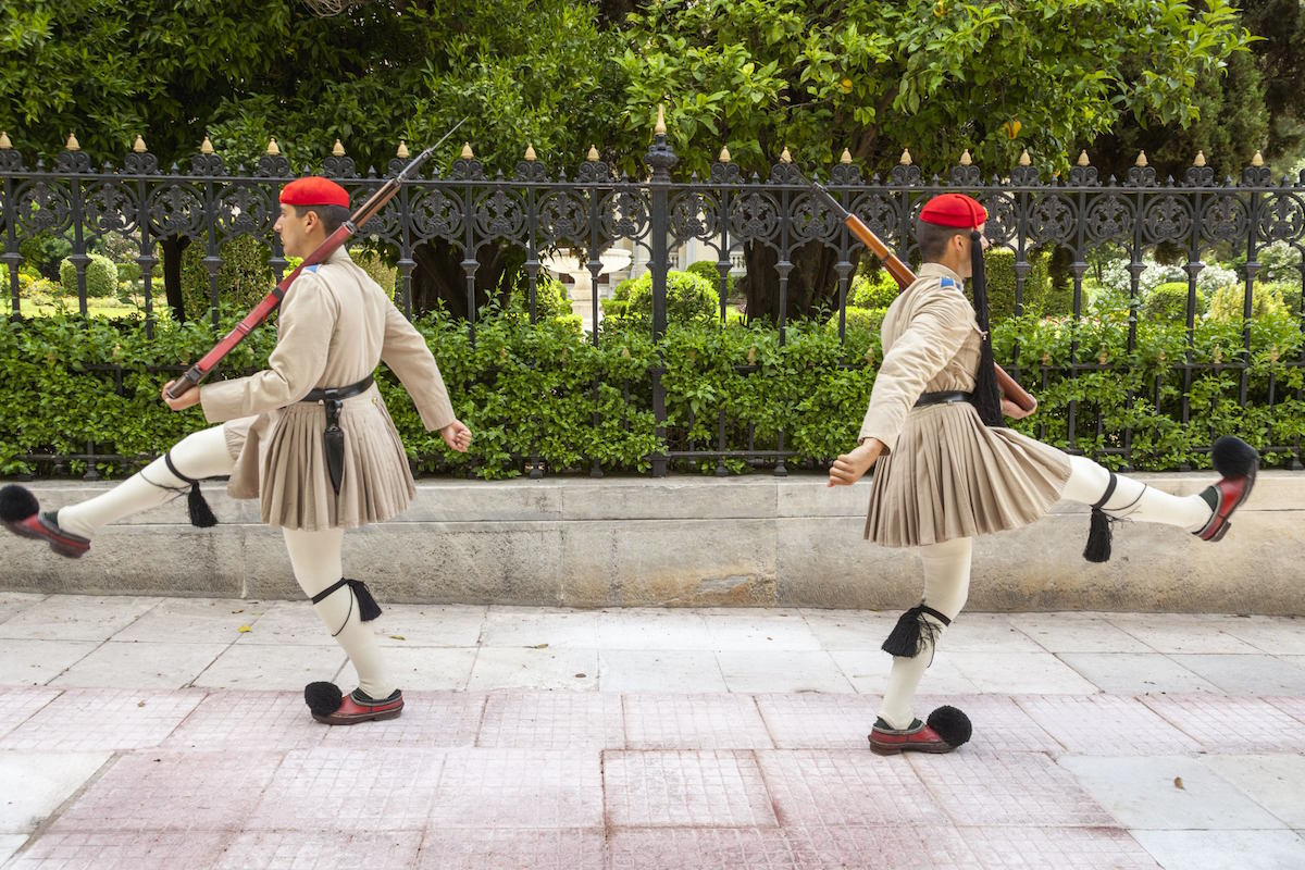 Greek soldiers, Evzones, outside the Presidential Palace, Athens, Greece CAP/MEL ©MEL/Capital Pictures