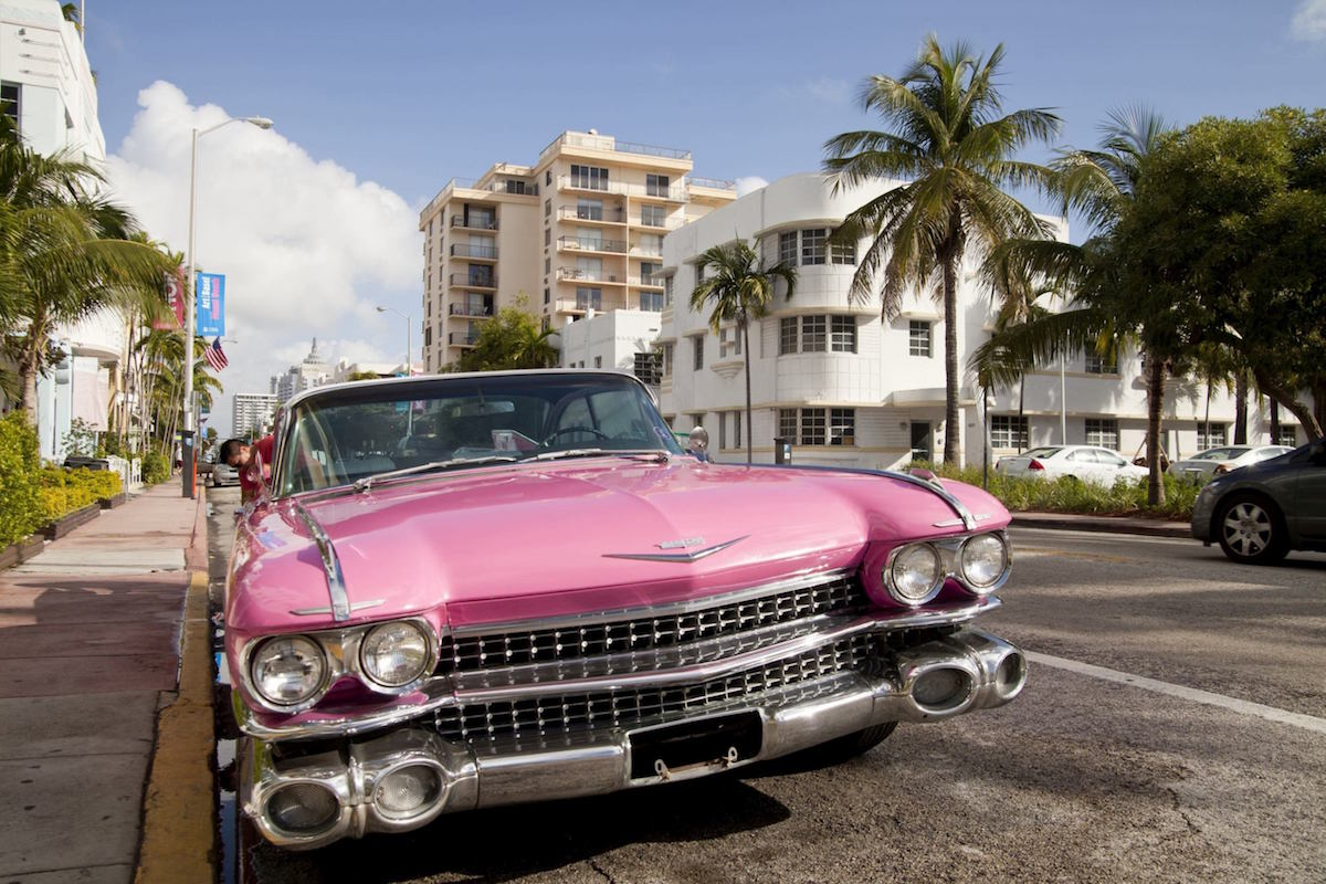 Pink Cadillac in the Art-Deco quarter of South Beach, Miami, Florida, USA