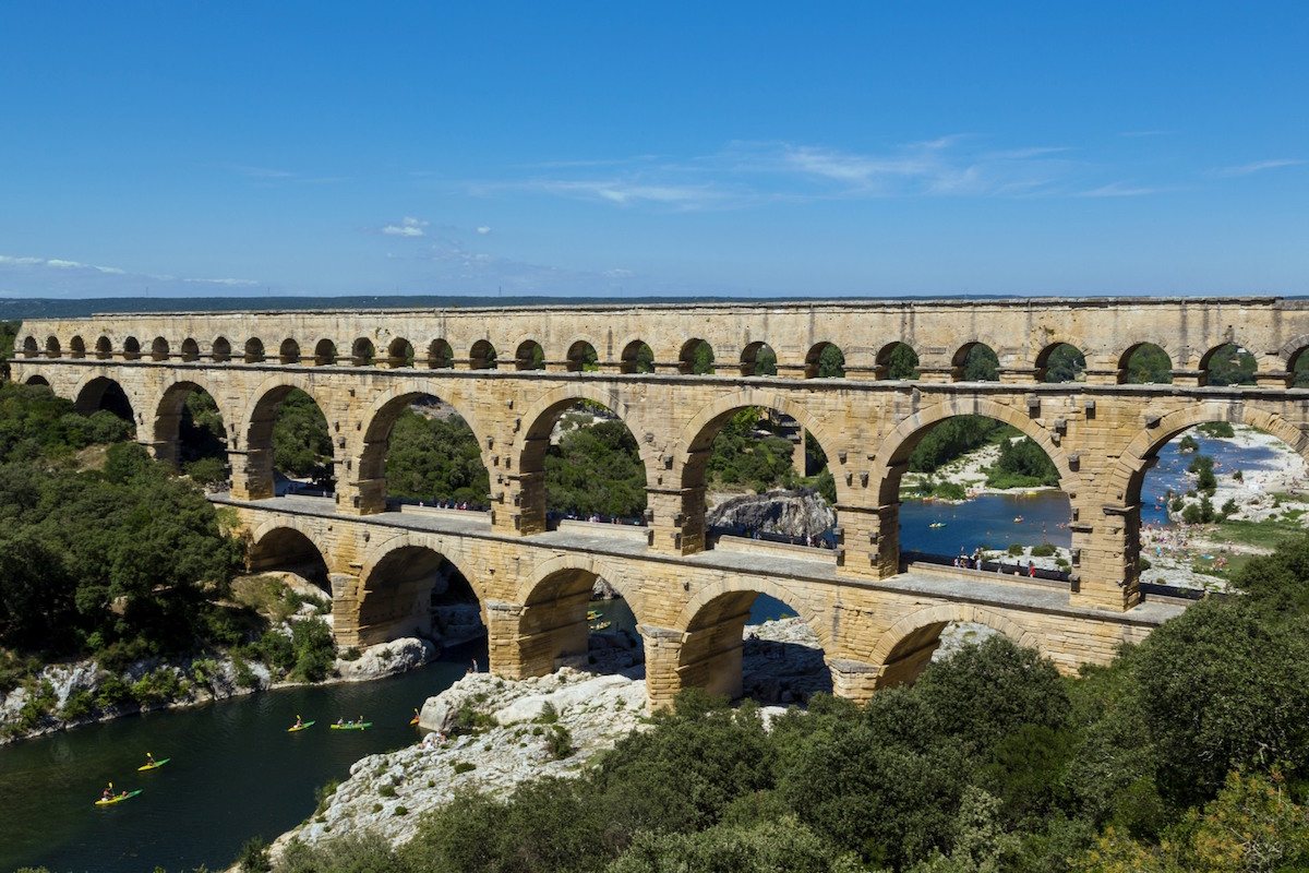 the roman bridge pont du gard and d gardon river, gard, france