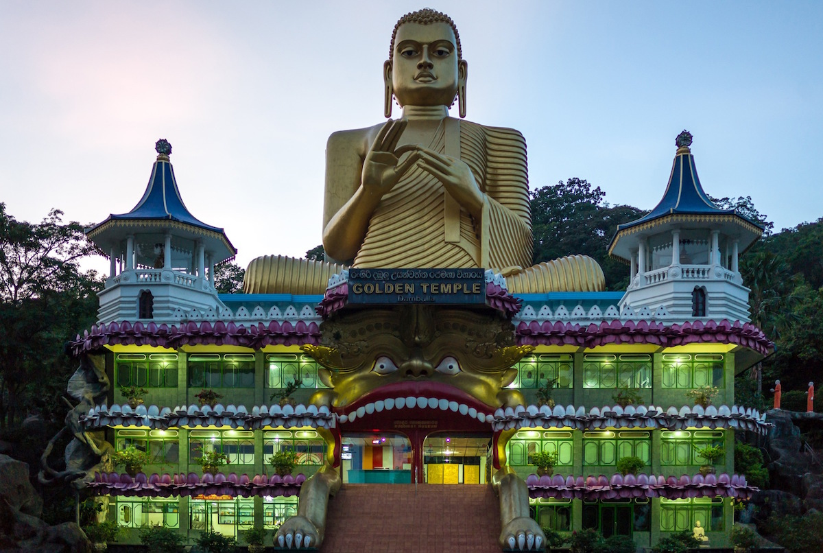 Sri Lanka, Danbulla, the large Buddah statue at the entrance of the Golden Temple