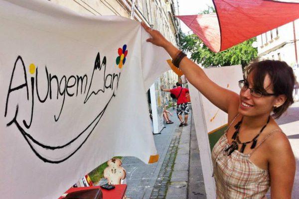 Lansarea Ajungem MARI la Street Delivery 2014 - primul banner pictat