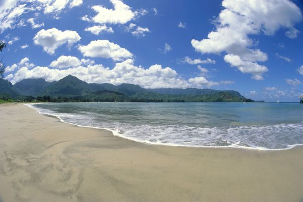 Hawaii, Kauai, Hanalei Bay And Beach, Bali Hai And Mountain Range In Background